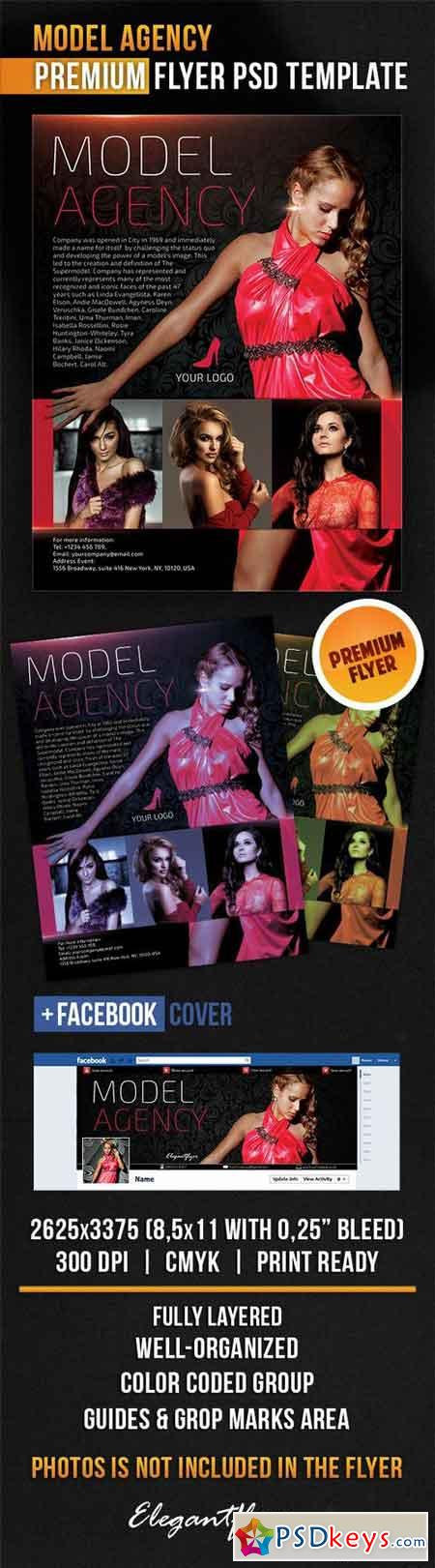 Model Agency – Flyer PSD Template + Facebook Cover