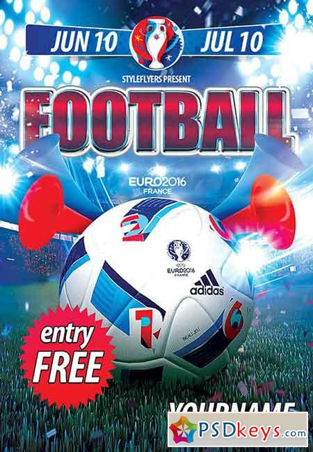Football (Soccer) PSD Flyer Template + Facebook Cover