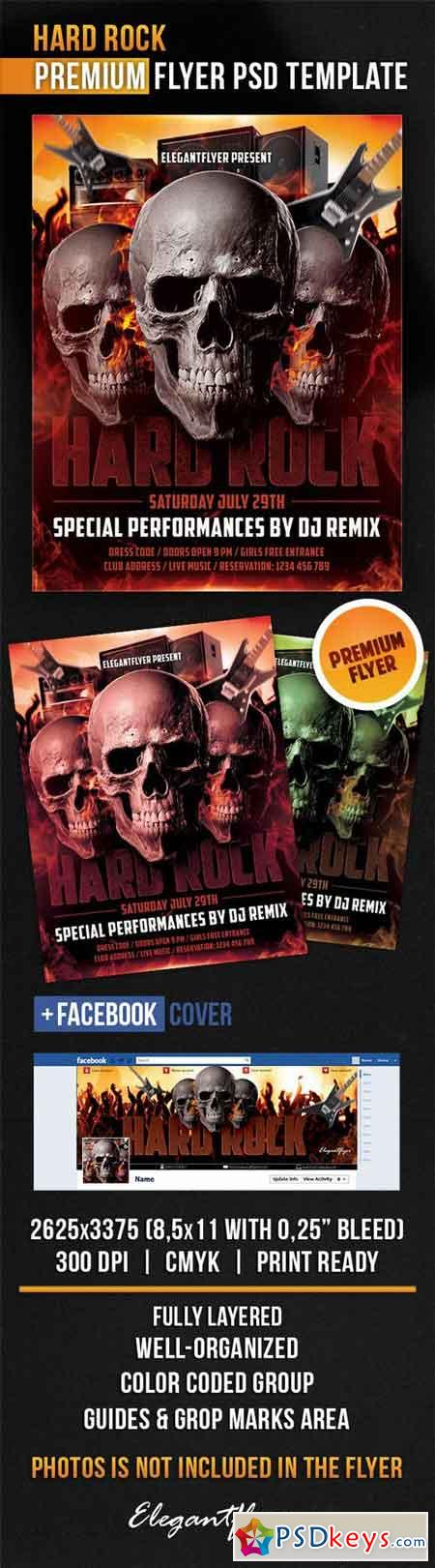 Hard Rock – Flyer PSD Template + Facebook Cover
