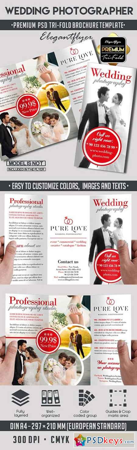 Wedding photography premium tri fold psd brochure for Wedding photography brochure template
