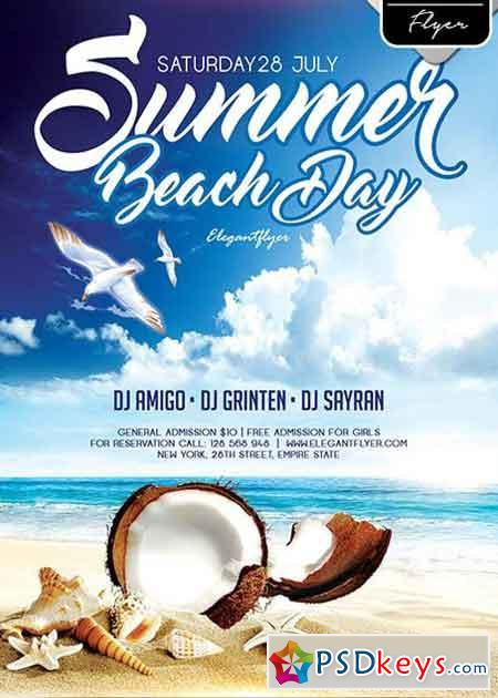 Summer Beach Day Flyer PSD Template + Facebook Cover