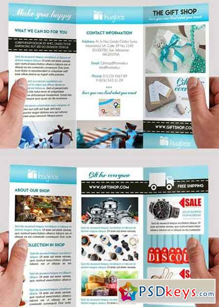 Gift shop premium tri fold psd brochure template free for Photoshop tri fold brochure template