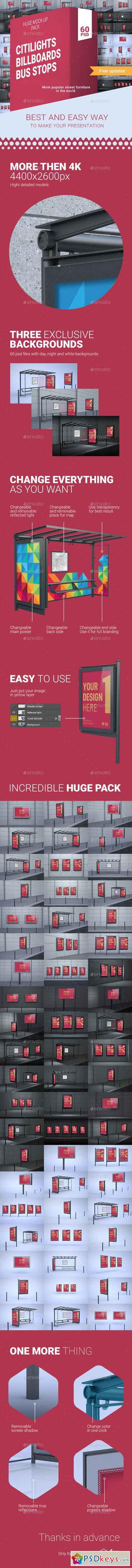 CBB Pack — 60 PSD Citylights, Billboards & Bus Stops Mock-ups! 16175216