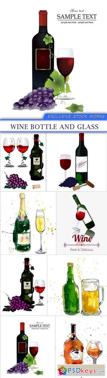 Wine bottle and glass 8X EPS