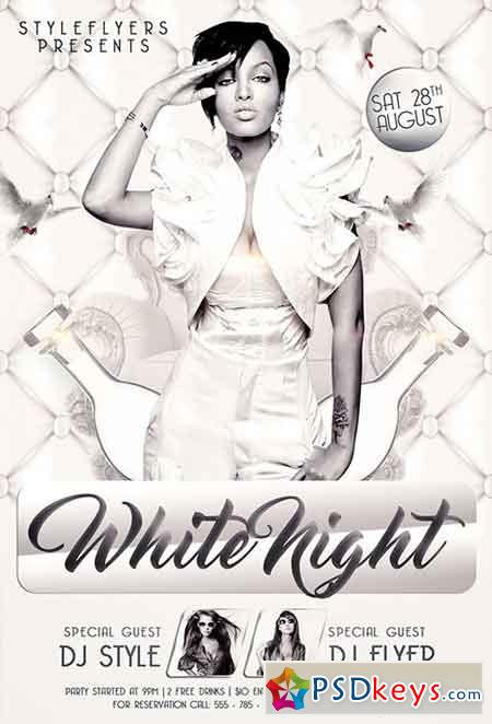 White Night Party Psd Flyer Template Facebook Cover Free