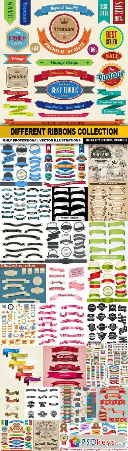 Different Ribbons Collection - 25 Vector