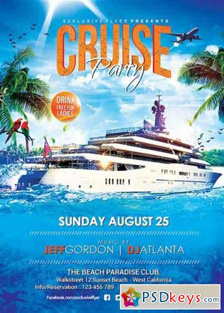 cruise party v5 premium flyer template   facebook cover