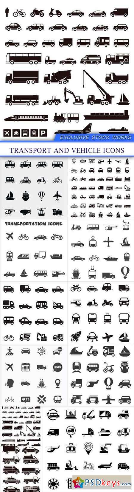 Transport and vehicle icons 11X EPS