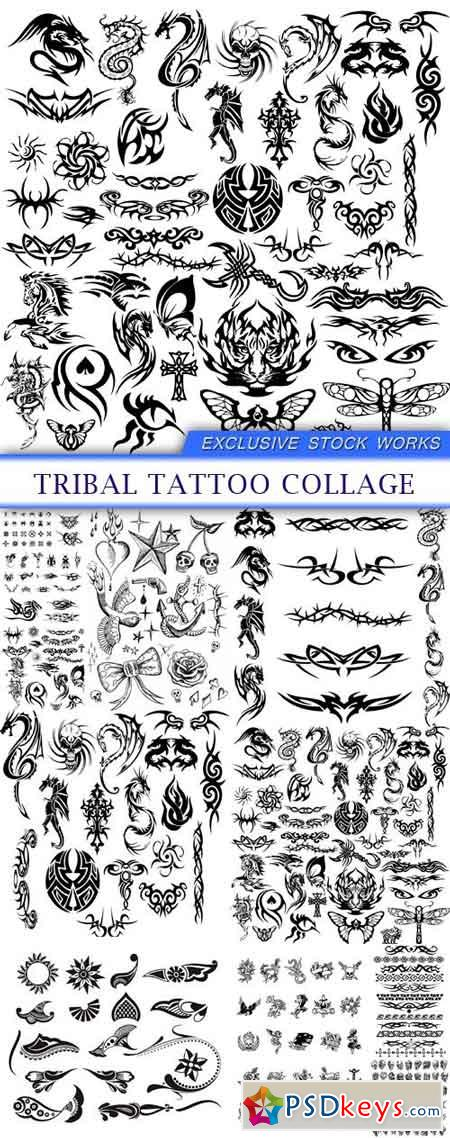 Tribal tattoo collage 10x EPS