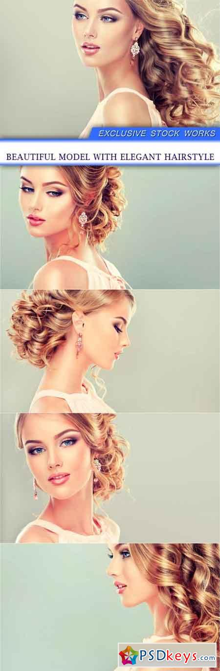 Beautiful model with elegant hairstyle 5X JPEG