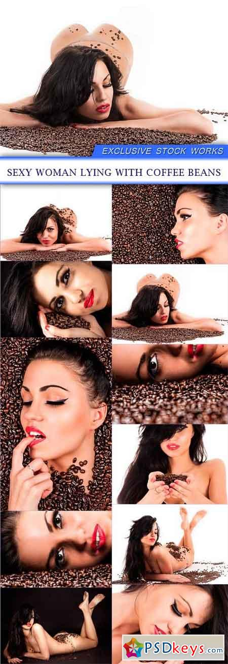 Sexy woman lying with coffee beans 11X JPEG