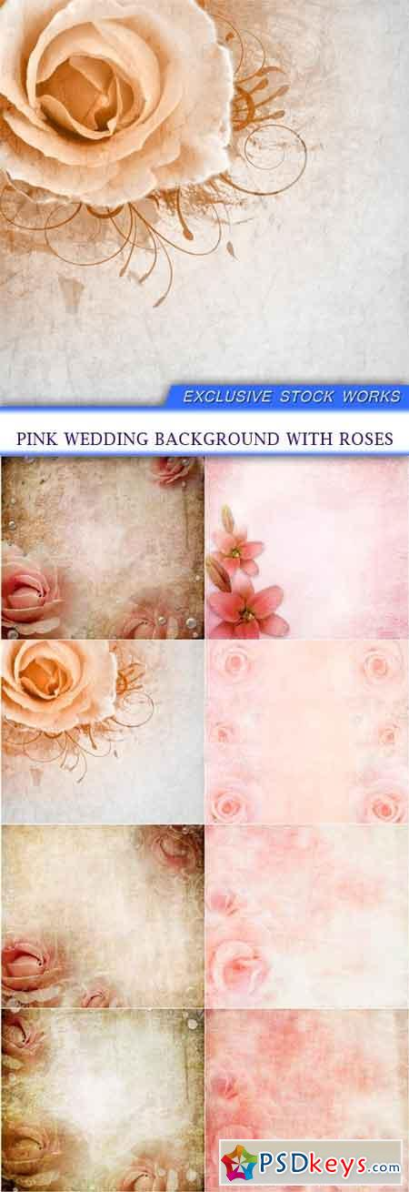 Pink wedding background with roses 8X JPEG