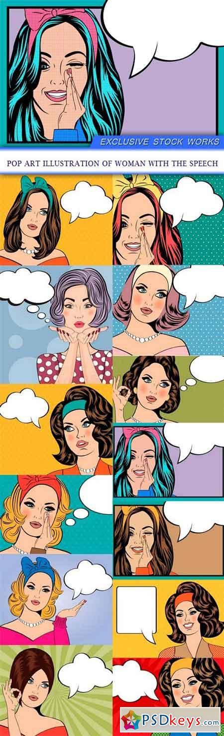 Pop Art illustration of woman with the speech 13X EPS