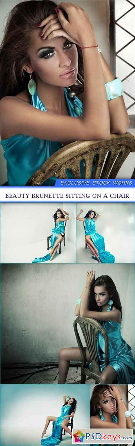 Beauty brunette sitting on a chair 5X JPEG