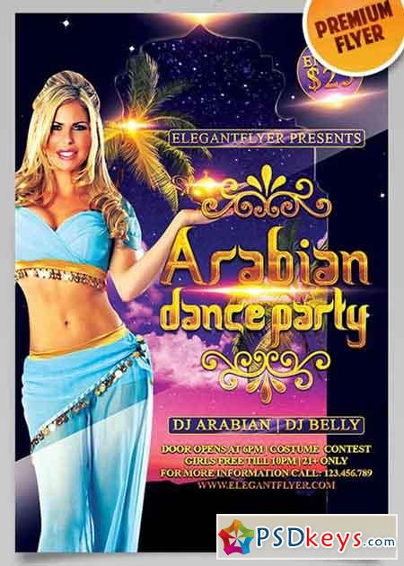 Arabian Dance Party Flyer PSD Template + Facebook Cover