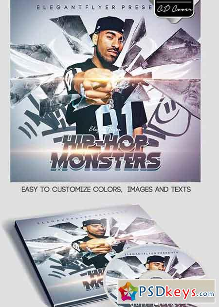 Hip-Hop Monsters CD Cover PSD Template