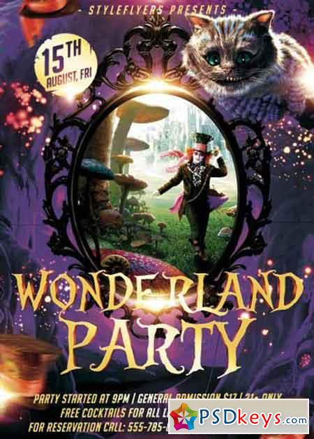 wonderland party psd flyer template  u00bb free download