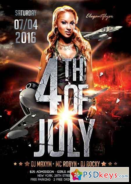 4th of July 2016 V7 Flyer PSD Template + Facebook Cover