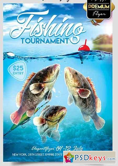 Fishing Tournament Flyer PSD Template + Facebook Cover