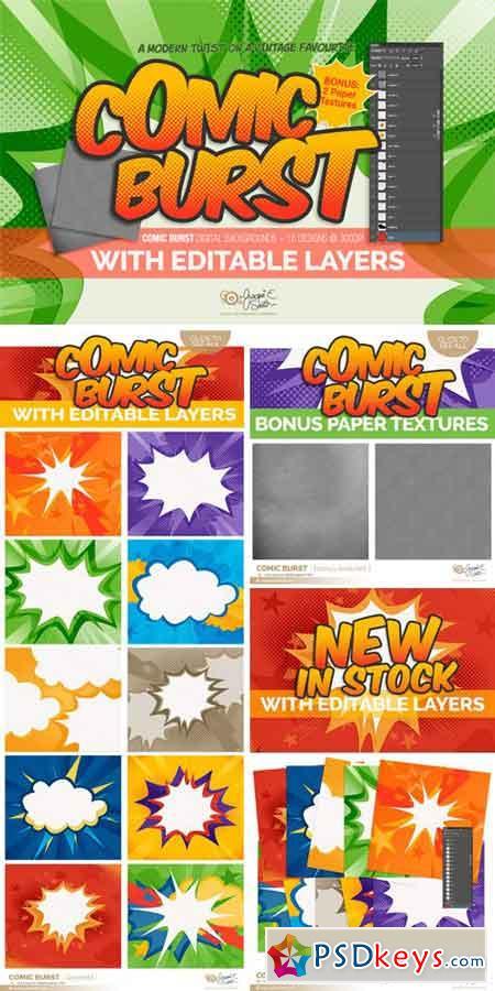 Comic Burst Layered PSD Backgrounds 293288