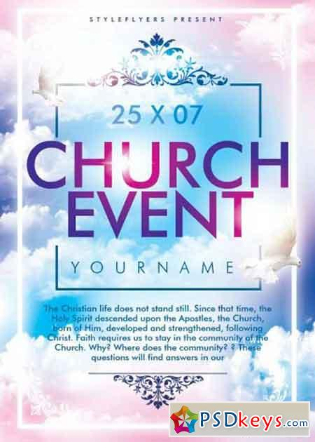 Church event psd flyer template free download photoshop for Free church flyer templates photoshop
