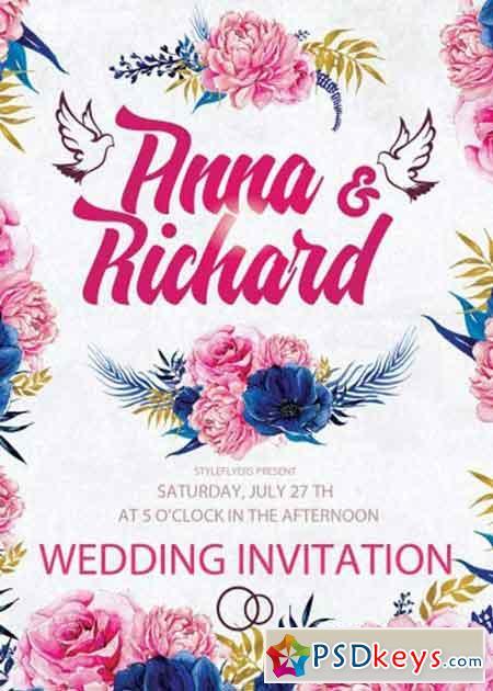 wedding invitation psd flyer template free download photoshop vector stock image via torrent. Black Bedroom Furniture Sets. Home Design Ideas