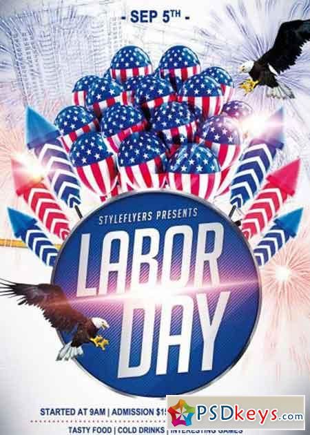 Labor Day Psd Flyer Template » Free Download Photoshop Vector