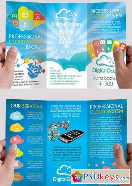 Cloud systems premium tri fold psd brochure template for Tri fold brochure psd template