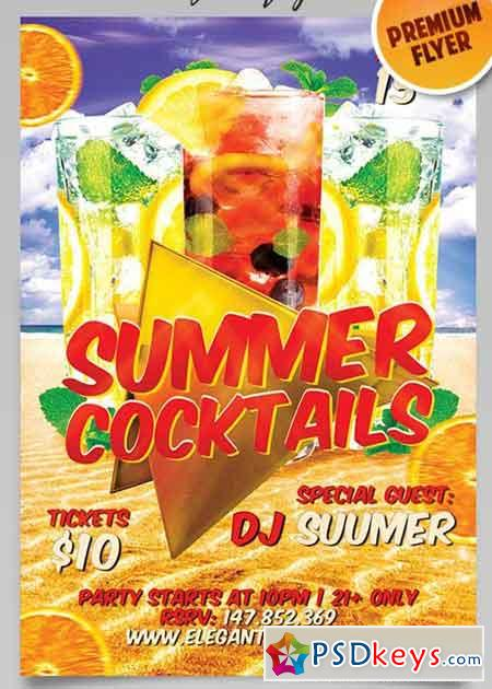 Summer Cocktails Flyer PSD Template + Facebook Cover