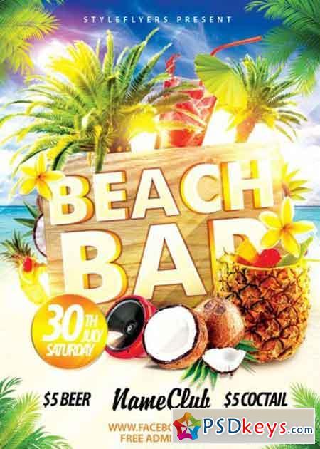 Beach Bar Psd Flyer Template Free Download Photoshop Vector Stock