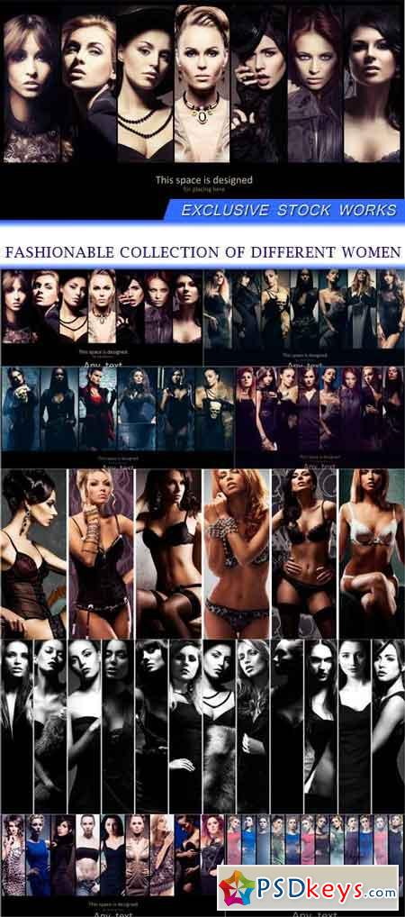 Fashionable collection of different women 8X JPEG