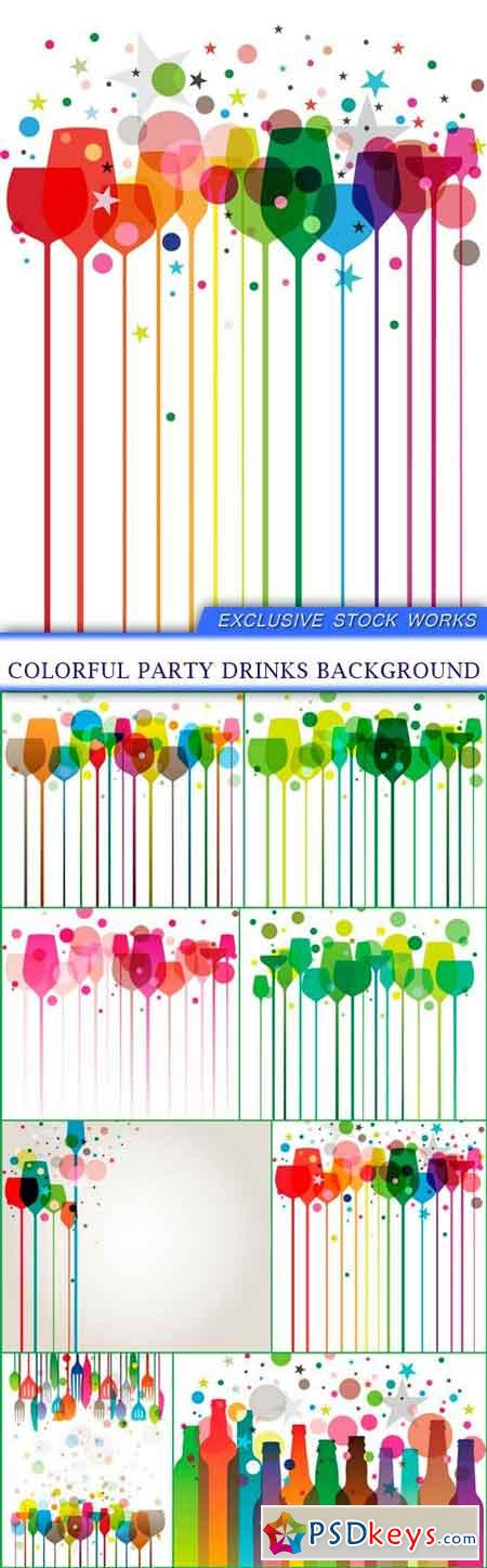 Colorful Party Drinks background 8x EPS