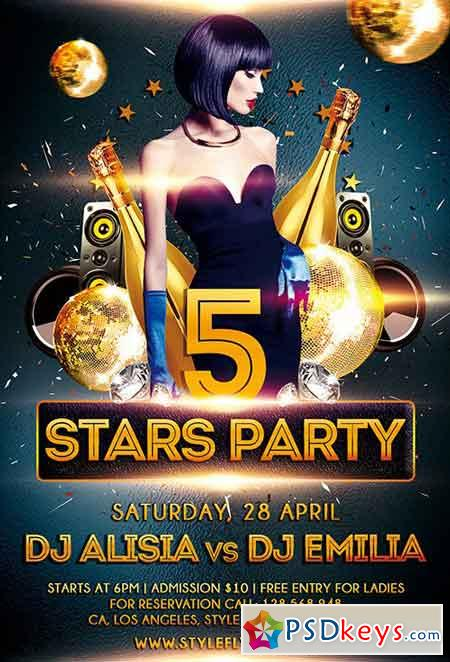 5 stars party PSD Flyer Template + Facebook Cover