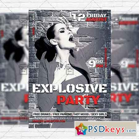 Explosive Party – Premium Flyer Template + Instagram Size Flyer