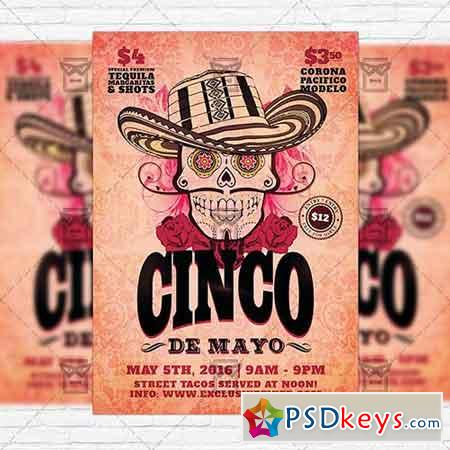 Cinco de Mayo Day – Premium Flyer Template + Facebook Cover