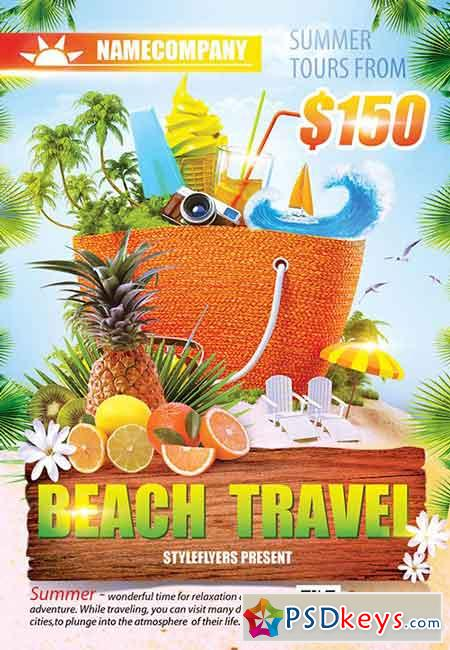 Beach Travel PSD Flyer Template + Facebook Cover
