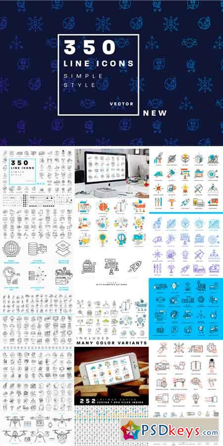 +350 Line Business Icons Collection 708716