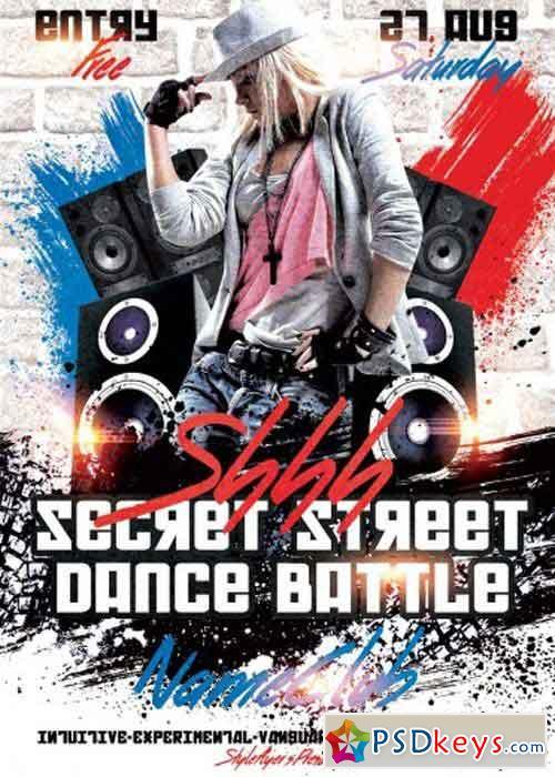 Shhh Secret Street Dance Battle Psd Flyer Template Free Download