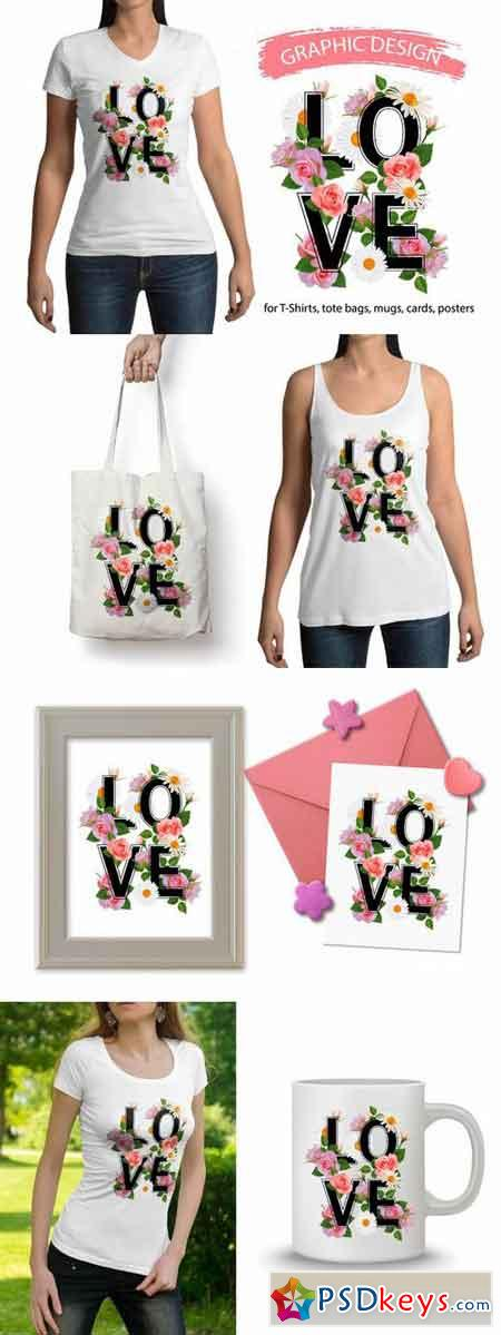 LOVE and flowers graphic design. 700135