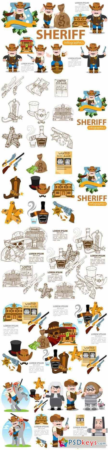 Sheriff. Wild West infographics set. 676538