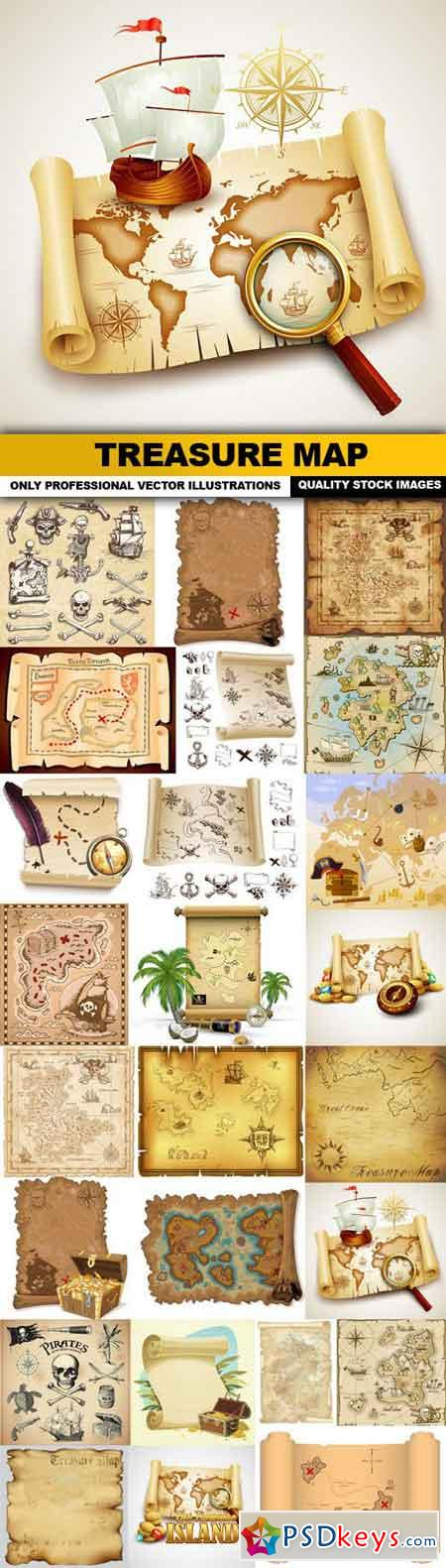 Treasure Map - 25 Vector