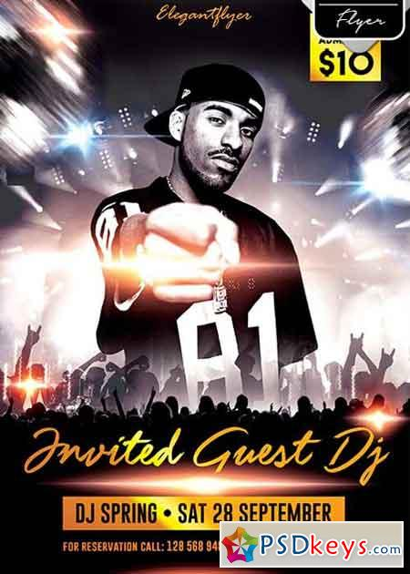 Invited Guest Dj Flyer PSD Template + Facebook Cover ...