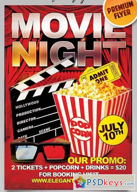 movie night flyer psd template   facebook cover  u00bb free