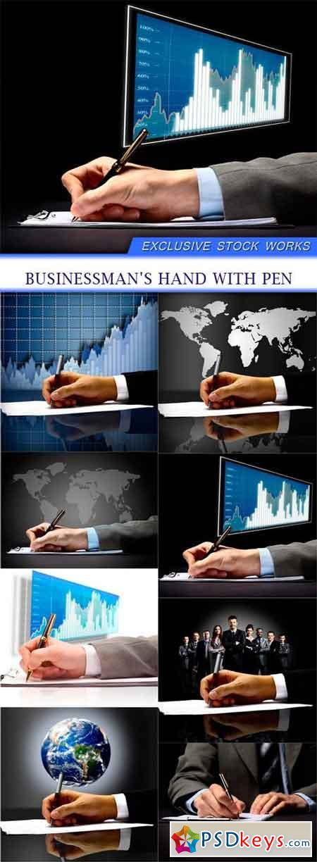 Businessman's hand with pen 8x JPEG