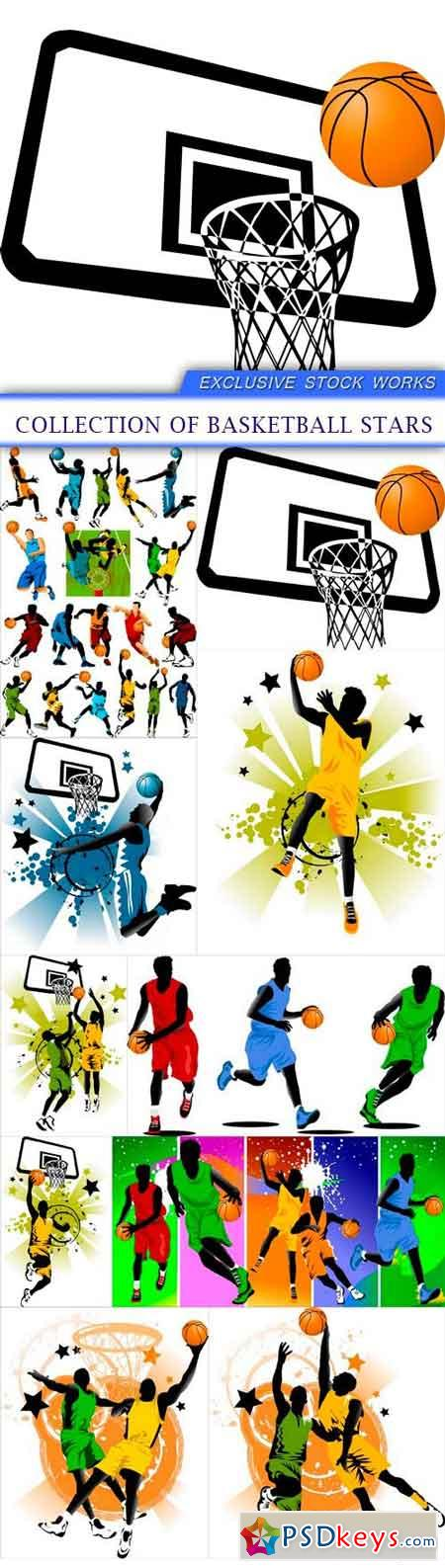 Collection of basketball stars 10X EPS