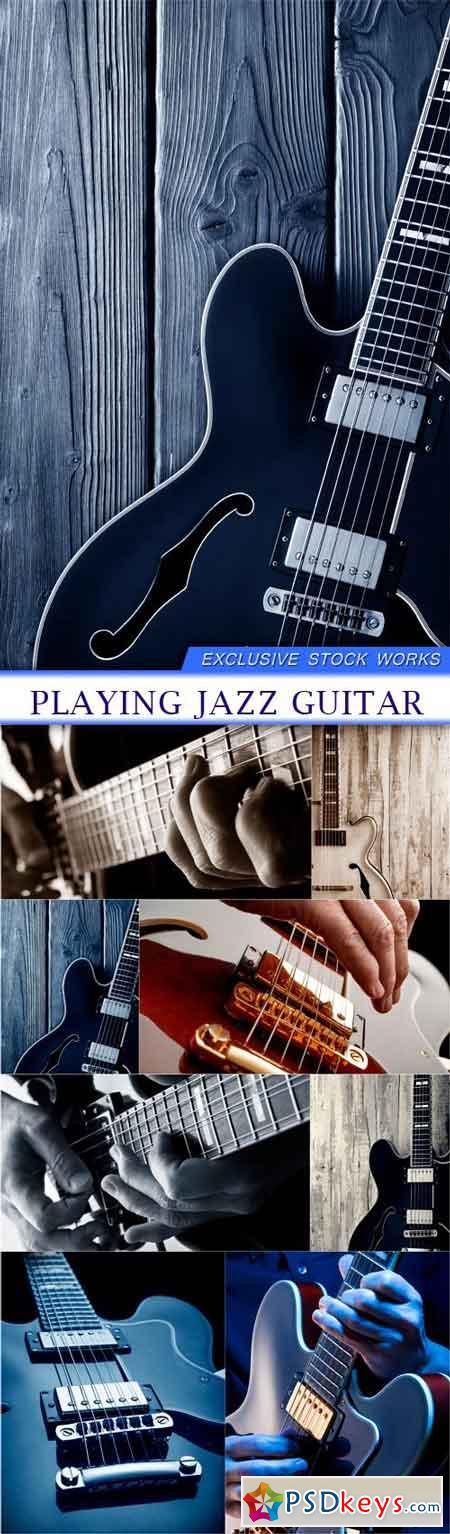 Playing jazz guitar 8X JPEG
