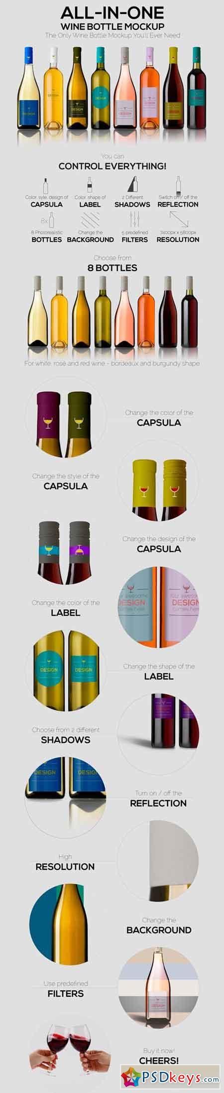 All-In-One Wine Bottle Mockup 744090