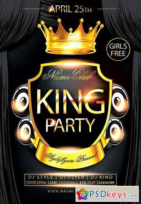 king party psd flyer template   facebook cover  u00bb free