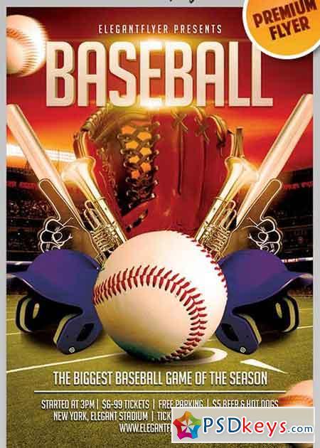 baseball v9 flyer psd template facebook cover
