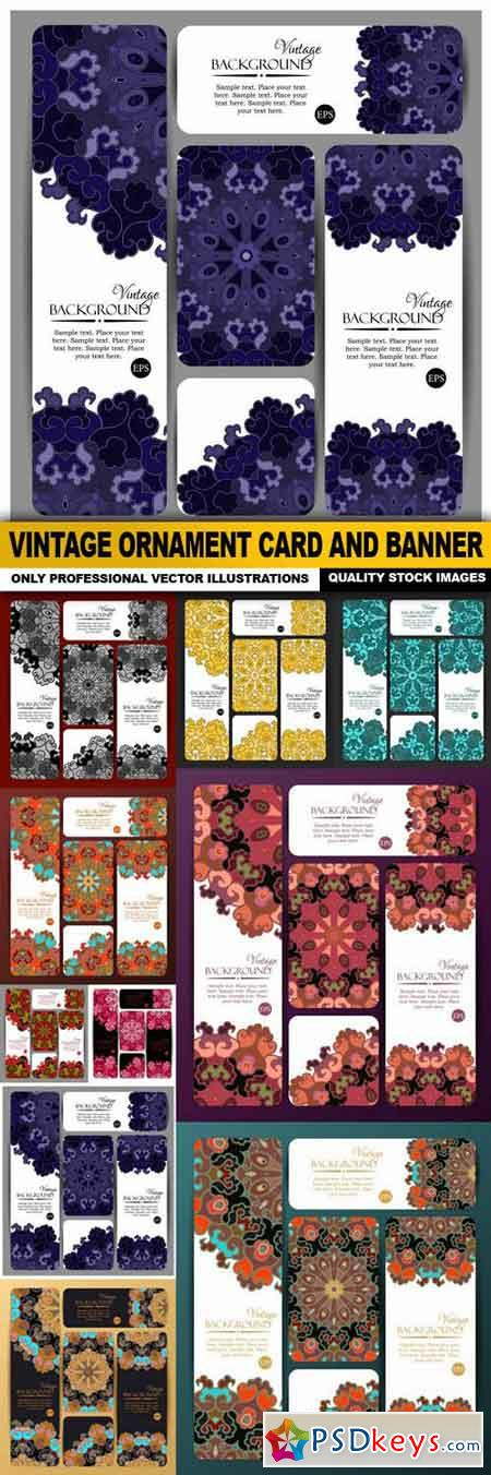 Vintage Ornament Card And Banner - 10 Vector